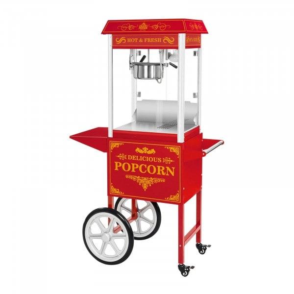 Popcornmaskin med vogn - Retro design - rød