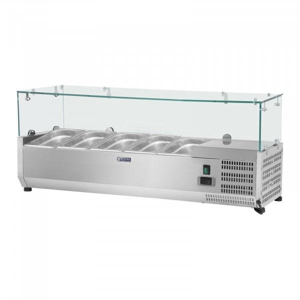 Kjølevitrine - 120 x 33 cm - 5 GN 1/4 beholdere - Glassoverbygg