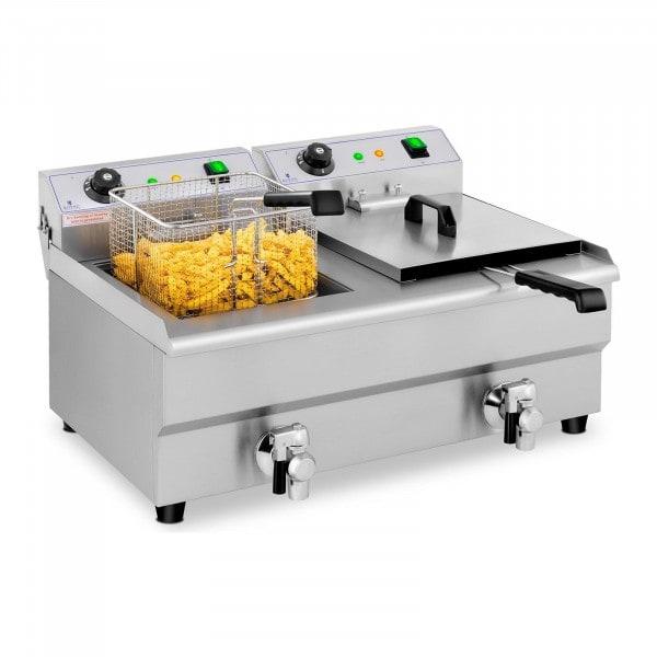 B-varer Elektrisk frityrkoker – 2 x 13 l – Tappekraner – 230 V