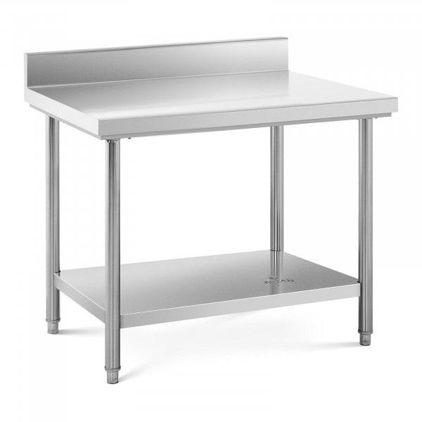 Arbeidsbenk i rustfritt stål - 100 x 70 cm - opphøyd kant - bæreevne 95 kg.