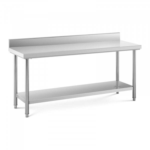 Arbeidsbenk i rustfritt stål - 180 x 60 cm - opphøyd kant - bæreevne 170 kg.