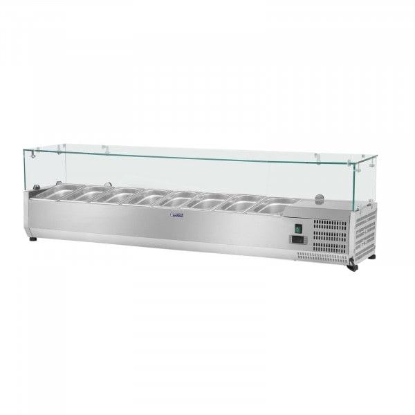 Kjølevitrine - 180 x 39 cm - 8 GN-beholdere (1/3) - med glass