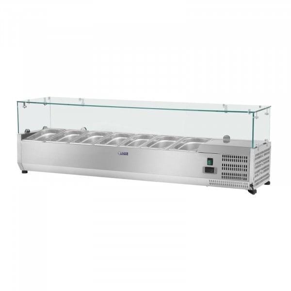 Kjølevitrine - 160 x 33 cm - 8 GN 1/4 beholdere - Glassplate