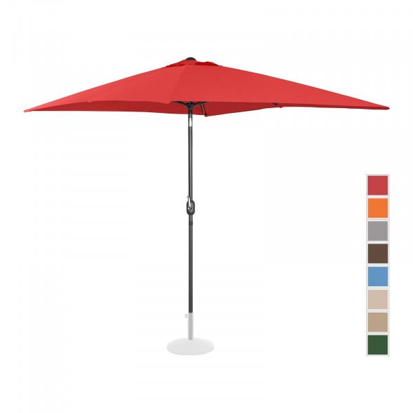 B-varer Stor parasoll - rød - rektangulær - 200 x 300 cm - kan skråstilles