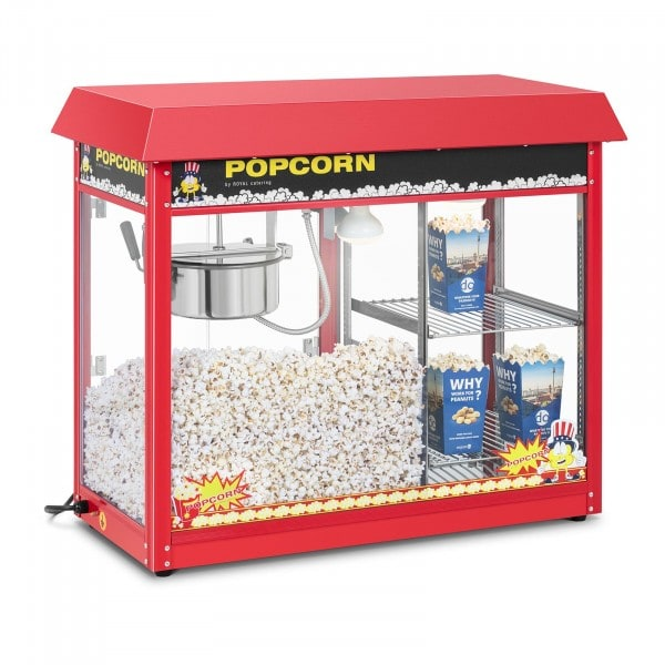 Popcornmaskin med oppvarmet kabinett - rød