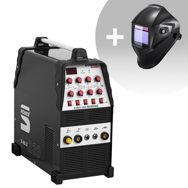 Aluminiumsveiseapparat - Sett - 200 A - 230 V - Puls - 2/4 Takt + Sveisemask– Carbonic - PROFESSIONAL SERIES