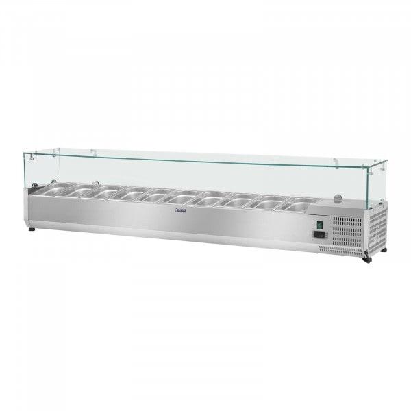 Kjølevitrine - 200 x 33 cm - 10 GN 1/4 Beholdere
