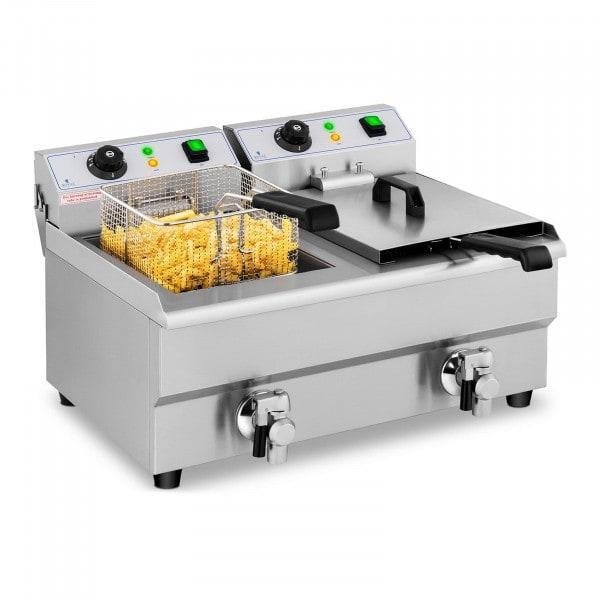 B-varer Elektrisk frityrkoker – 2 x 10 l – Tappekraner – 230 V