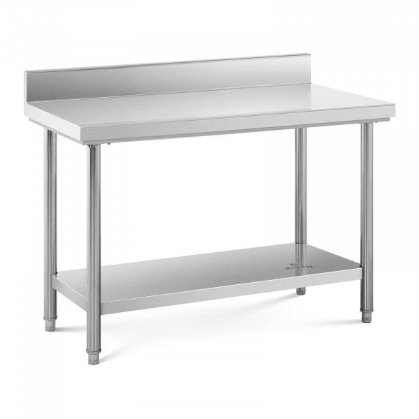 Arbeidsbenk i rustfritt stål - 120 x 60 cm - opphøyd kant - bæreevne 110 kg.