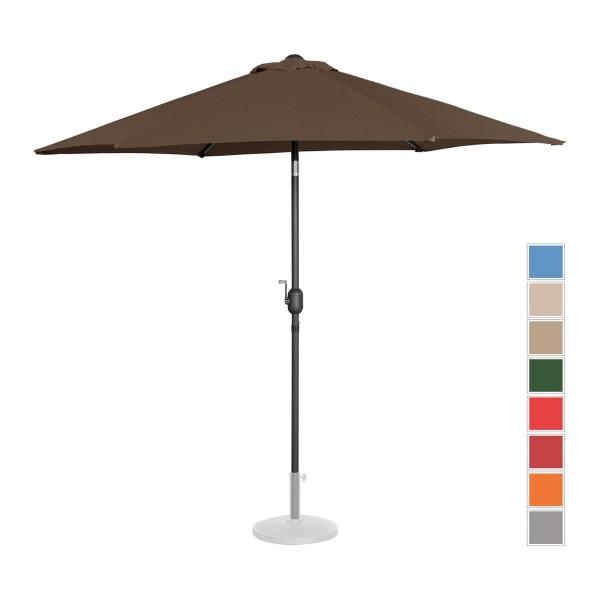 B-varer Stor parasoll - brun - sekskantet - Ø 270 cm - kan skråstilles