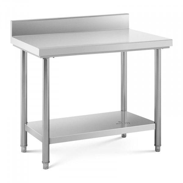 Arbeidsbenk i rustfritt stål - 100 x 60 cm - opphøyd kant - bæreevne 114 kg.
