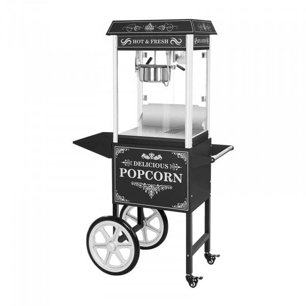 Popcornmaskin med vogn - Retro design - sort