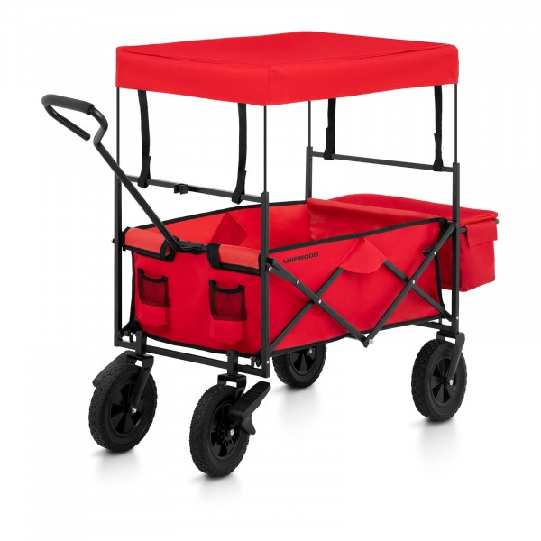 B-varer Folding Garden Cart with Canopy - Red - with brakes