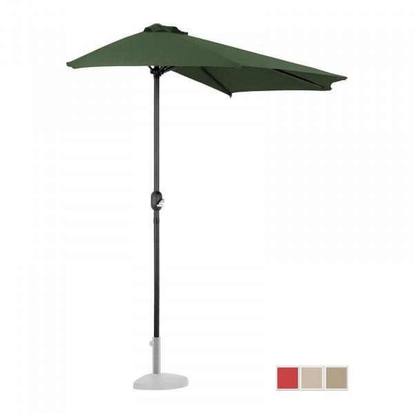B-varer Halv parasoll - grønn - femkantet - 270 x 135 cm
