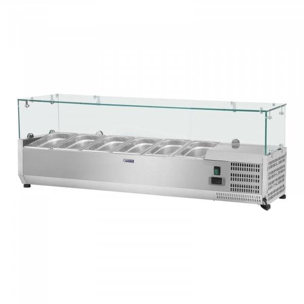 Kjølevitrine - 140 x 39 cm - 5 GN 1/3 beholdere - Glassplate