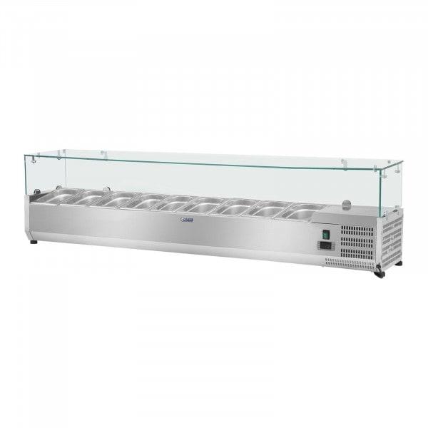 Kjølevitrine - 180 x 33 cm - 9 GN-beholdere (1/4) - Glassmonter